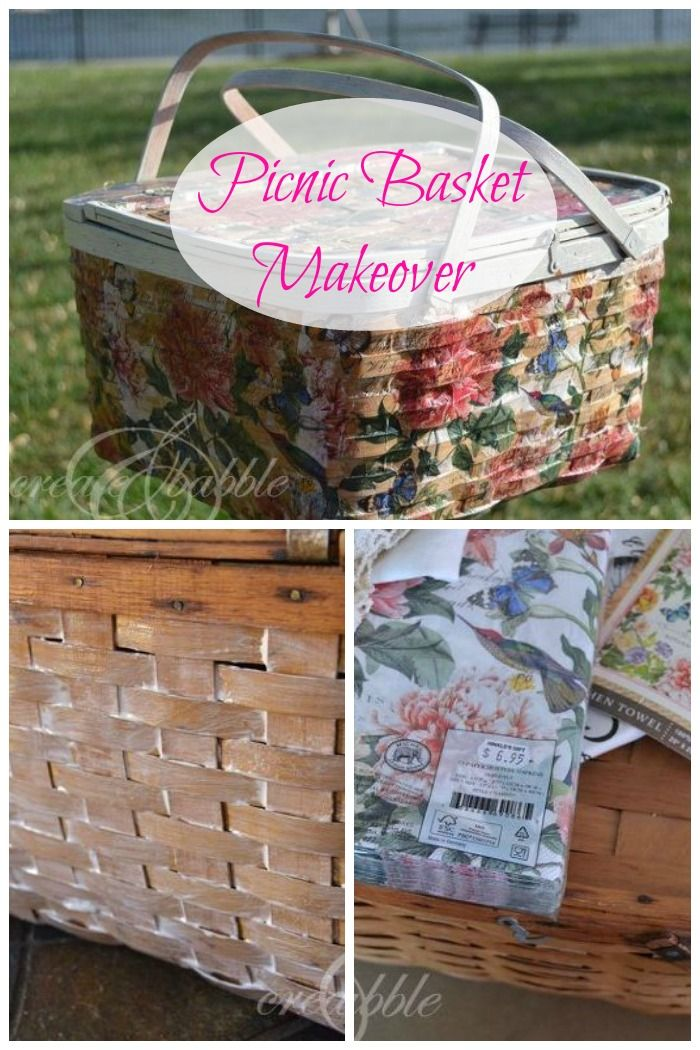 An old picnic basket is crafted using napkins into a beautiful shabby chic creation!