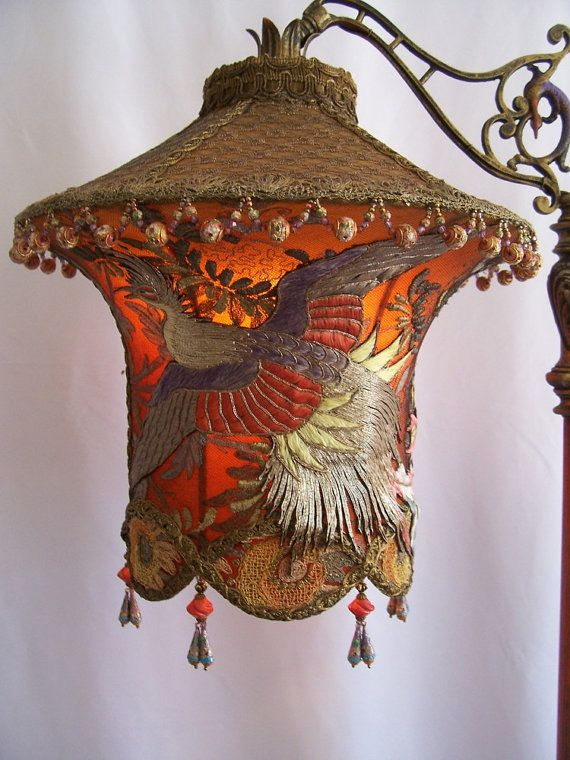 Grand Phoenix Exotic Bird Embroidered Lantern by peacockgypsy