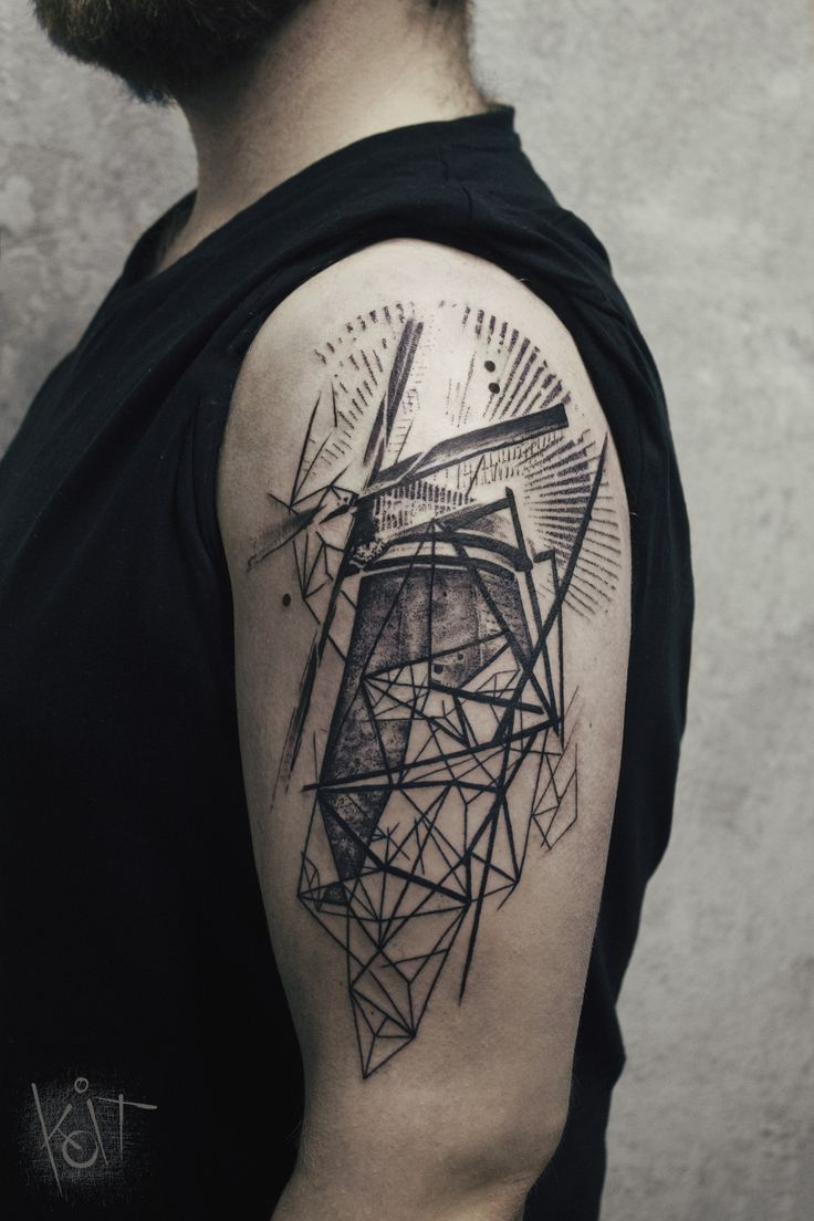 By Koit, Berlin, travelling // Black geometric windmill black arm tattoo. Graphic style lines and dotwork.