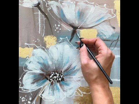 How to make an amazing abstract floral picture with gilding from Julia Kotenko – YouTube