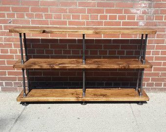 Rustic industrial pipe and wood console table || rustic industrial steel wood sofa table || rustic metal wood bookcase