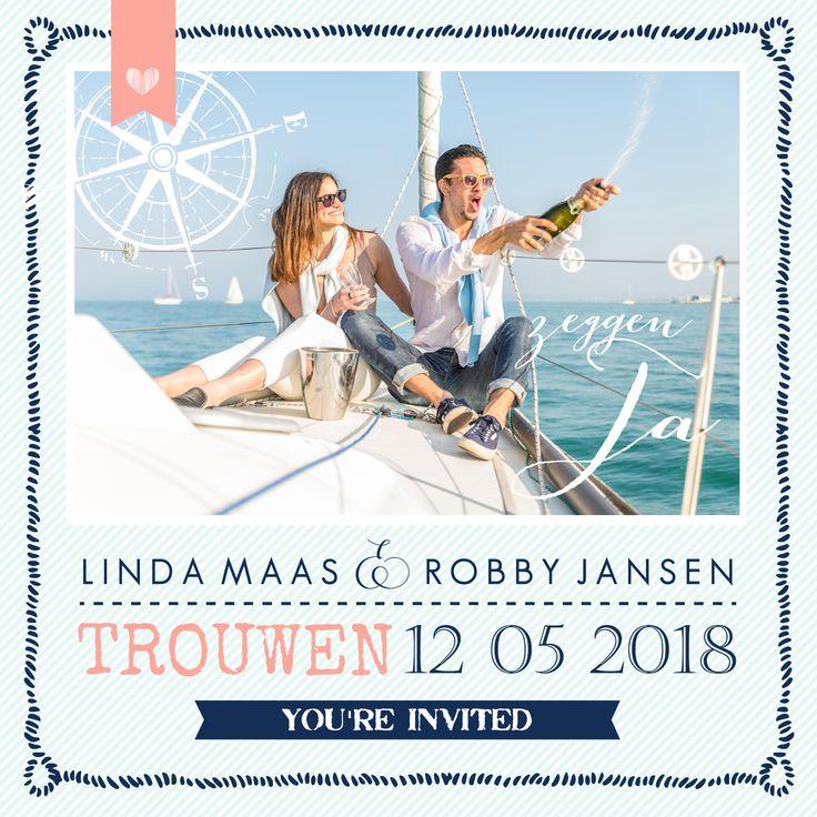 #strand #nautic #marine #sea #trouwkaart #trouwuitnodiging #trouwen #bruiloft #wedding #bruid #huwelijk #bruidspaar #zee #zeilen