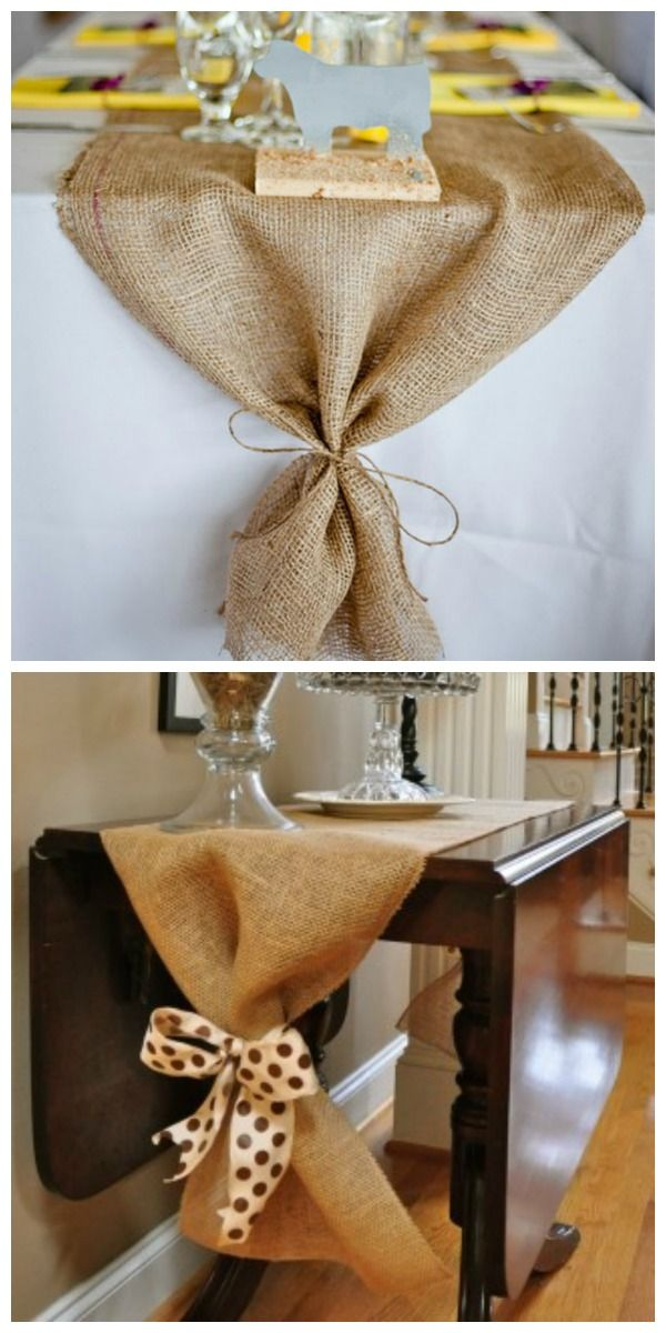 Burlap runner and other table-scape ideas. Also a link to thrifty hurricane candle holder