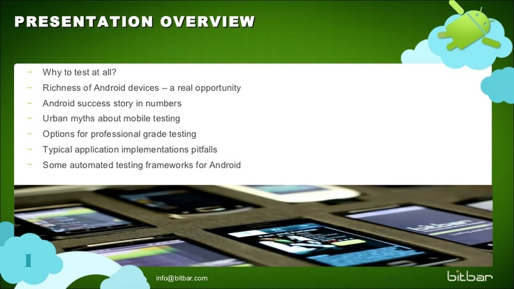 android-testing-october2012v2-14935797 by bitbar via Slideshare