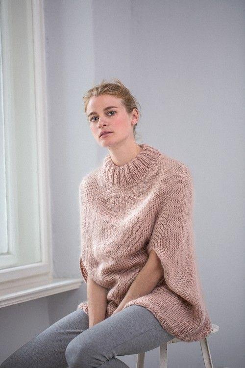 Mohair cape w/ Swarovski Pearls FREE knitting pattern in German (hva)