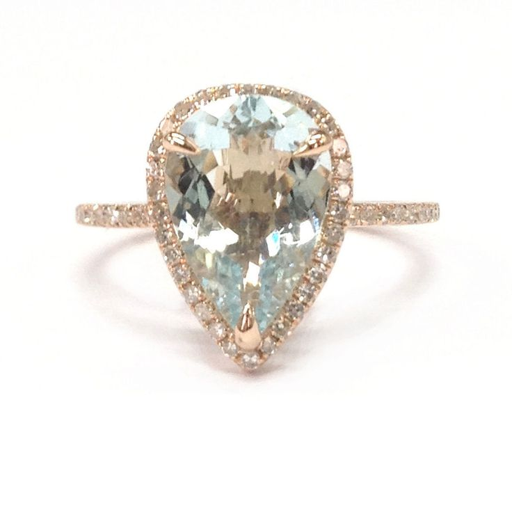 $699 Pear Aquamarine Engagement Ring Pave Diamonds Wedding 14K Rose Gold,10x12mm