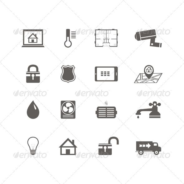 Smart home automation technology icons set of utilities surveillance camera and blueprint isolated vector illustration. Editable E