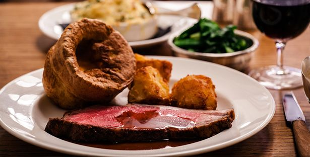 Sunday Roast @ Hixter, Bankside. Half a roast barn-reared Indian Rock Chicken 17.95 Roast mighty-marbled sirloin 19.95 Served with roast potatoes, Yorkshire pudding, cauliflower cheese and buttered flowering sprout hearts