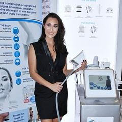 UK Glamour Model Chloe Goodman at the 3D Lipo stand at ExCel Exhibition in London