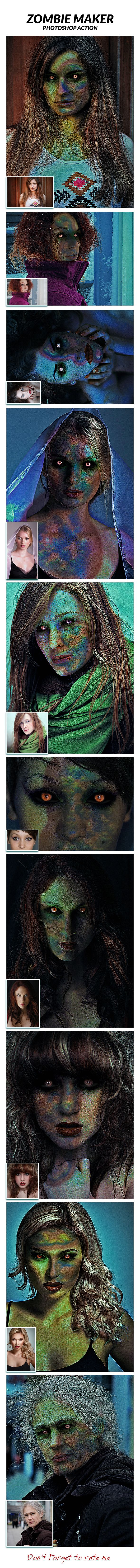 Zombie Maker — Photoshop Action #Halloween action #fear • Download ➝ https://graphicriver.net/item/zombie-maker-photoshop-action/15549452?ref=pxcr