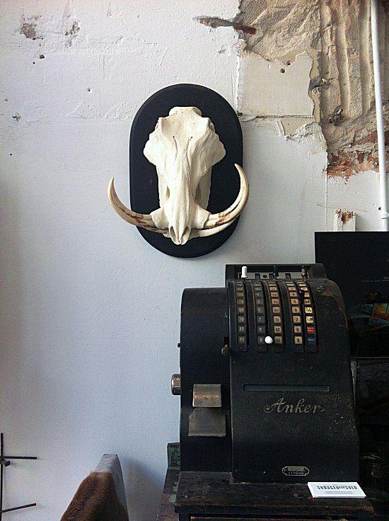 Hutspot in Amsterdam: Remodelista Hutspot Amsterdam, Cash Register, Black Skull, Bones, Interiors Design, Style Essential, Mount Skull Interiors, Boar Skull, Antlers Horns Skulls Hid