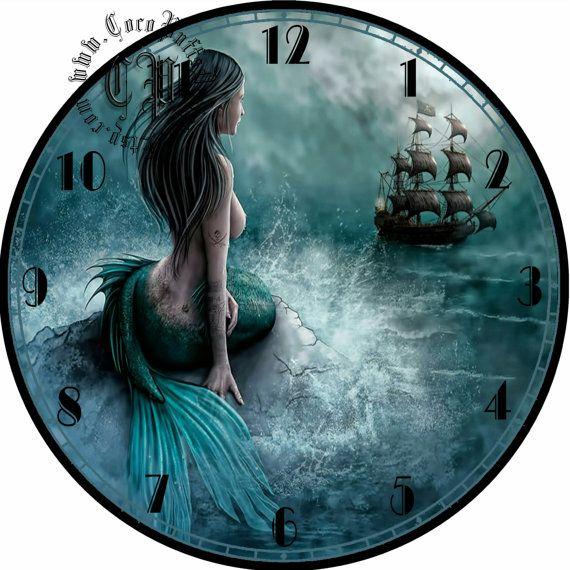 Mermaid Art DIY Digital Collage  12.5 DIA for by CocoPuffsDesigns