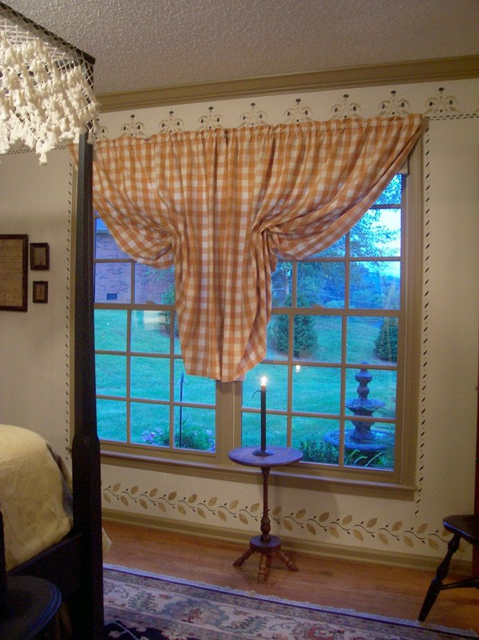 PAIR OF COLONIAL DRAW BACK CURTAINS...IN CHEDDAR MUSTARD BUFFALO CHECK.
