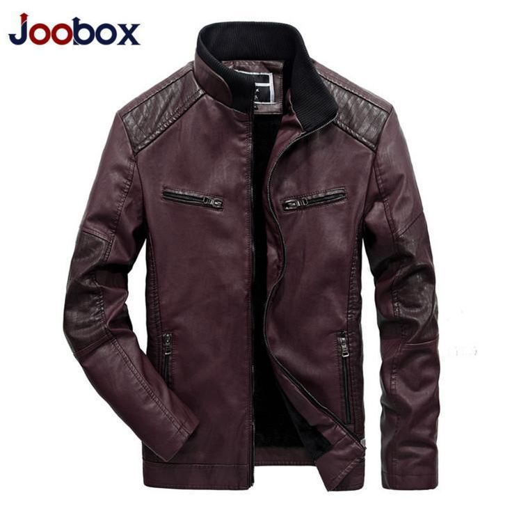 ICYMI: JOOBOX Motorcycle biker leather Jackets Stand Collar Slim fit Men Leather Jacket