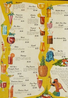 Vintage BALI HAI Polynesian Restaurant Tiki Tropical Cocktail Menu