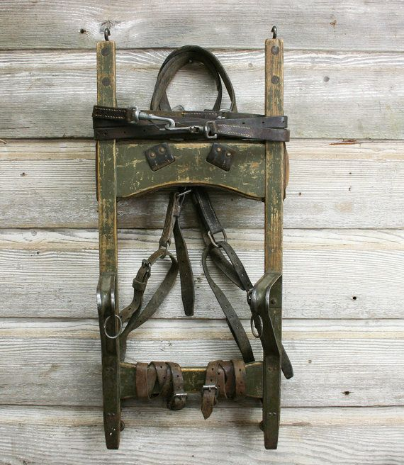 Vintage Wood and Leather Backpack Red Cross Frame by AuroraMills, $65.00