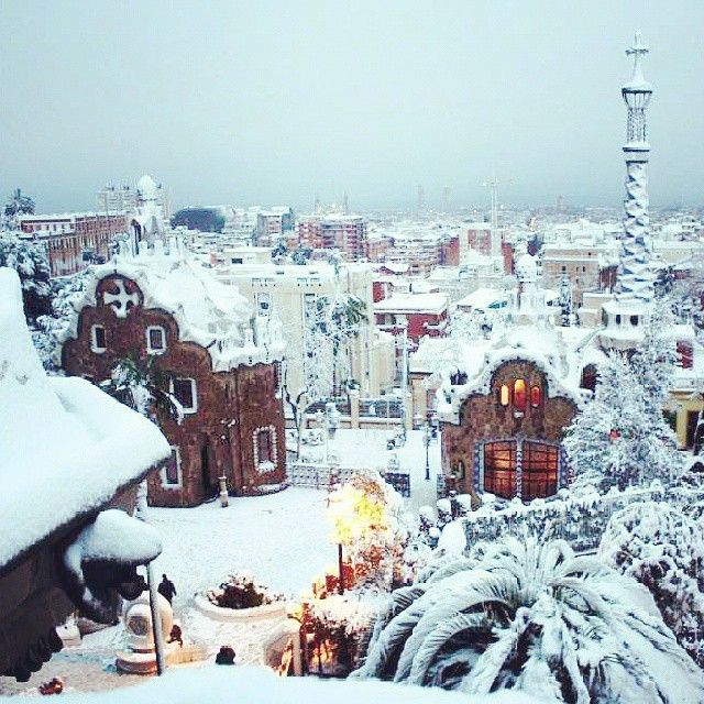 Park Guell, Barcelona - Doesn't the snow look like icing sugar on top of ginger bread houses?