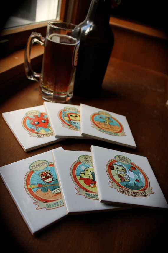 Christmas Present? I think so! Star Wars Inspired Craft Beer Labels, Ceramic Tile Coaster Set of 6 #StarWars #Beer #Art