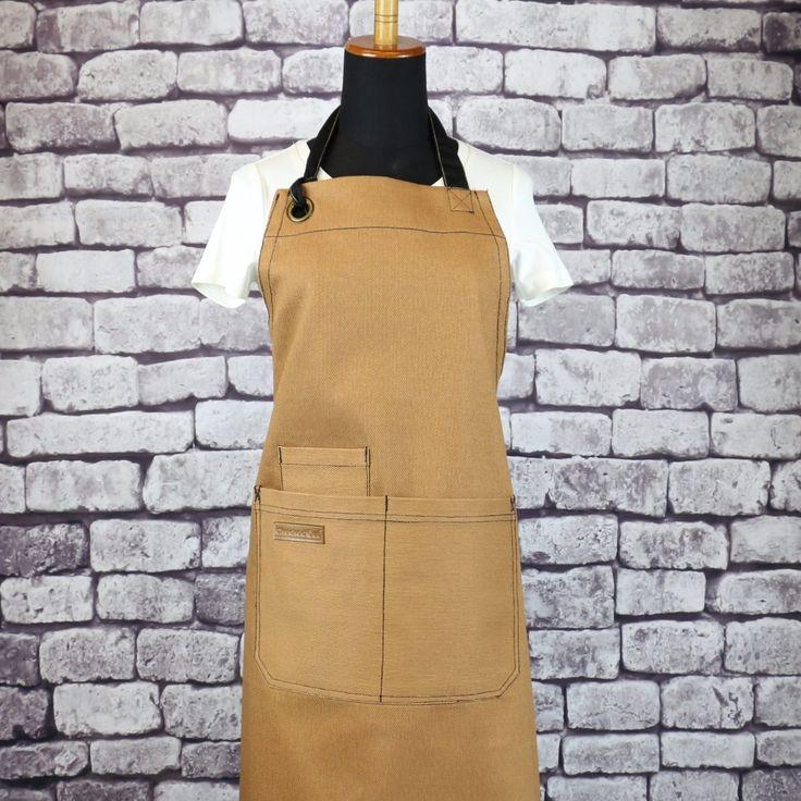 U3009S - BBQ CHEF Khaki Canvas Apron| BBQ Apron| Grill Apron| Barista Apron|