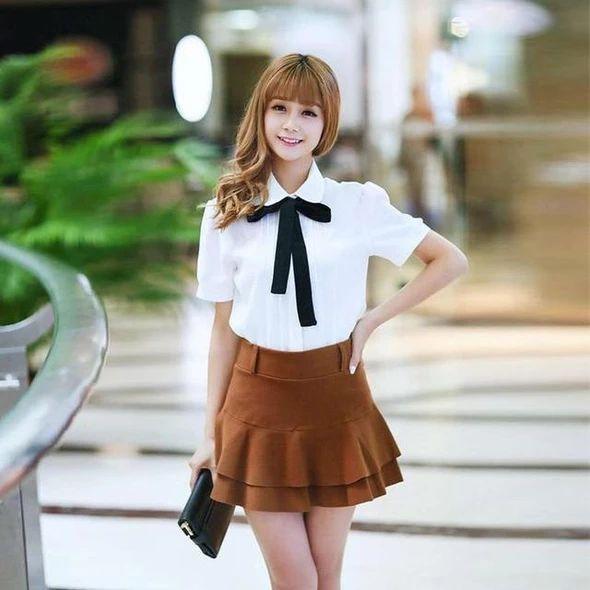 Fashion Female Elegant Bow Tie White Blouses Chiffon Peter Pan Collar Casual Shirt Ladies Blouse summer blouses for women 7