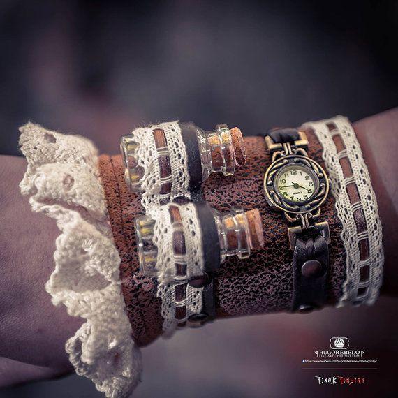 STEAMPUNK CUFF  industrial wrist cuff bracelet by DarkDesireStore