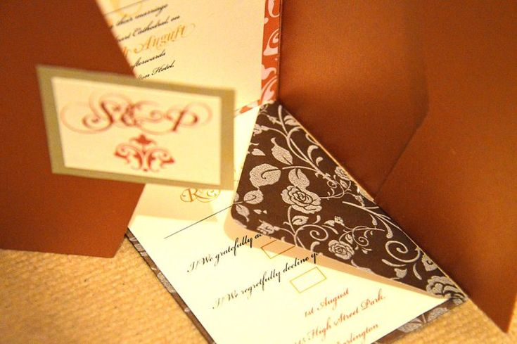 This pearlescent copper pocketfold invitation works really well with golden or bronze tones, it adds a touch of class to cream and also perfectly complements chocolate or truffle colours.  www.justaddyou.ie
