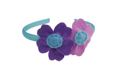 cerchietto con fiore in pannolenci bambina/donna viola, lilla, turchese : Moda bambina di mompatchwork