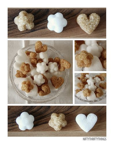 DIY Sugar Cubes - What a great idea.  A fun thing to bring out for your guests with after dinner coffee or tea.  Or they can be put in a baggie and given as a gift.: 25 Handmade, Ice Cubes, Sugar Cubes, Gifts Ideas, Sugar Shape, Handmade Gifts, Sugarcub, Diy Sugar, Teas Parties