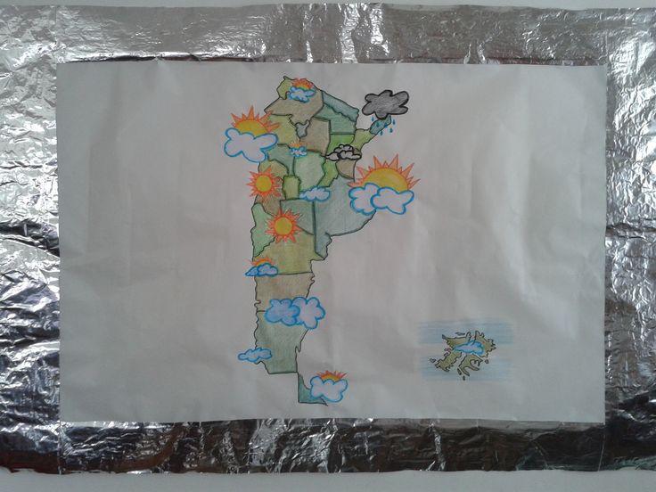 """Lamina 3- Técnica Dibujo (a mano alzada) Composición """"Clima de la República Argentina""""-   Soporte papel afiche    Autor: Marie de unrinconparaelarte.blogspot.com Escenografía Colegio nordbridge"""