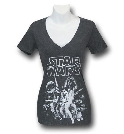 Images of Star Wars Women's Heather Charcoal Poster T-Shirt