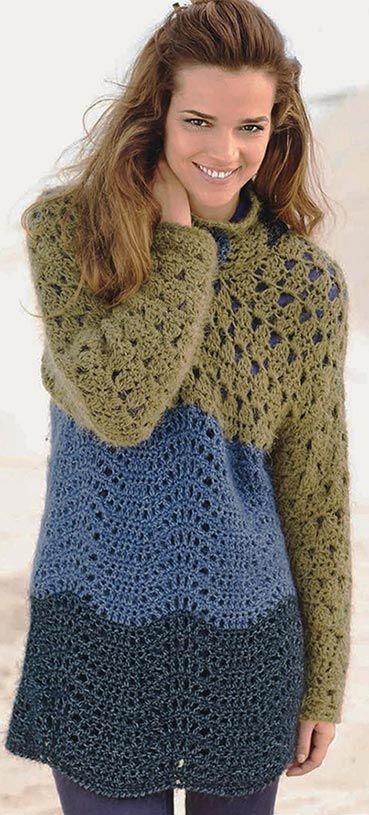 pulover cu dungi crosetate. Modelele pentru tineri, croșetată