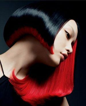 asymmetrical hair, red and black hair, hair cut, futuristic hair, future hair, hair style, hairstyle, black hair, red hair, asian girl, head by FuturisticNews