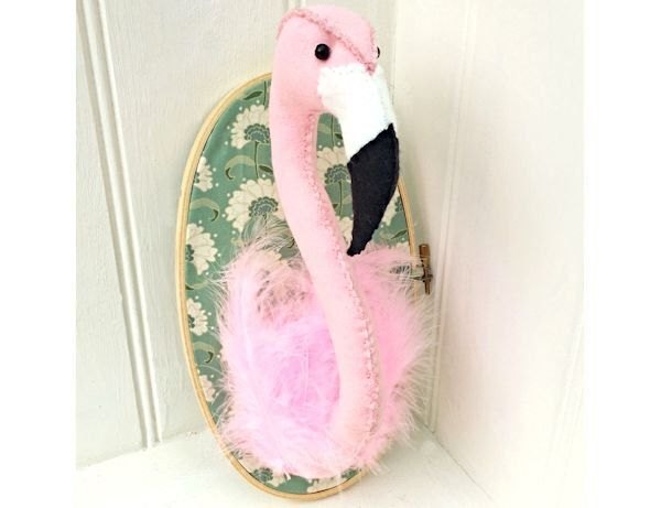Faux Taxidermy Flamingo Trophy Head sewing pdf pattern instant download by BustleandSew on Etsy https://www.etsy.com/uk/listing/278491572/faux-taxidermy-flamingo-trophy-head