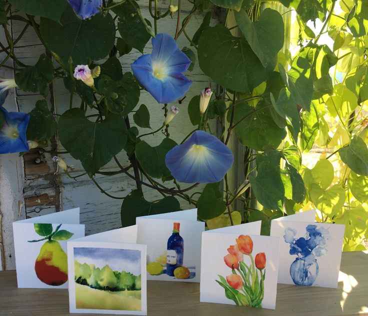 Morning glories blessing the hand-painted watercolor cards.