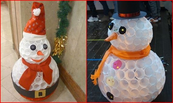 How to Make Snowman Using Plastic Cups   So Creative Things   Creative DIY Projects