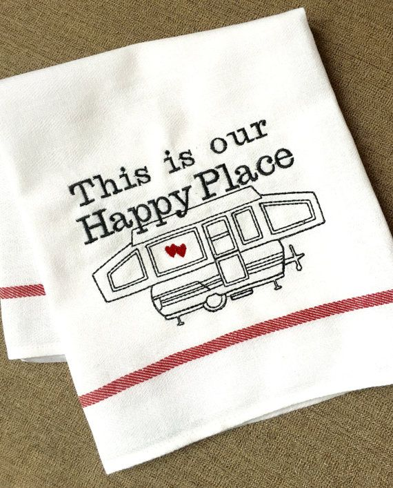 Pop Up Tent Camper Towel, Camping Decor Kitchen Dish Towel, Camper RV Accessory, Travel Quote This is my Happy Place, Sweet Camper