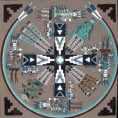 """A framed Navajo Sandpainting signed on the back """"Kee Silversmith Gracie Dick."""" This sandpainting is contemporary and is in very good condition. Keith Silversmith and Gracie Dick are widely recognized as masters of this art form and have been awarded prizes museum shows."""