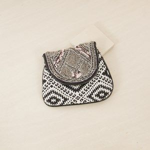 Beaded Flapover Pouch Clutch