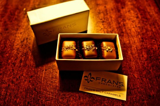 Fran's Chocolates has two Seattle retail locations: inside the Four Season's Hotel at 1325 First Avenue downtown and at the North end of the University Village shopping center at 2626 Northeast University Village Street.