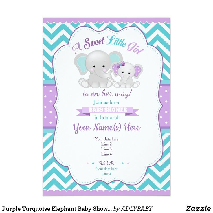 Purple Turquoise Elephant Baby Shower Invitation