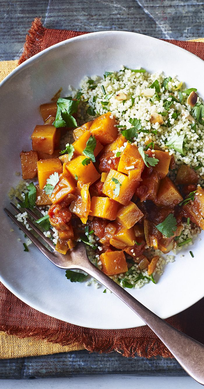 Cook up a Moroccan feast with a butternut squash tagine and herb-flecked couscous.