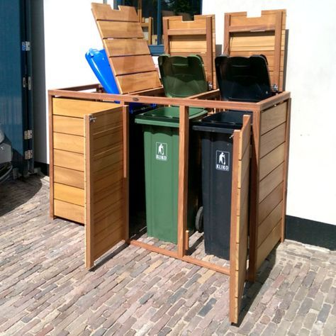 de Buitenboel*: Kliko berging trio met deksels, (h)117 x (b)198 x (d)70 cm, FSC hardhout