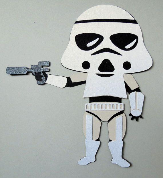 Star Wars Inspired Storm Trooper Paper Die Cut Paper Doll Scrapbook Embellishment