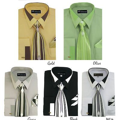 New Men 39 S French Cuff Dress Shirt With Tie Handkerchief