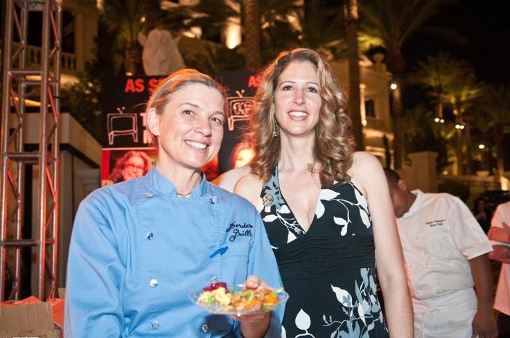 Mary Sue Milliken & Leah Ross, PR & Marketing Manager at Bon Appetit's Vegas Uncork'd 2011: Water, Leah Ross, Grill Serves, Sue Milliken, Pocket Guide, Border Grill