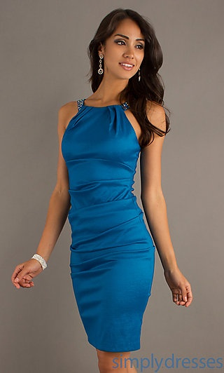 Short Sleeveless Dress at PromGirl.com and simplydresses.com $89. I love it in Magenta and perfect to wear as a wedding guest.