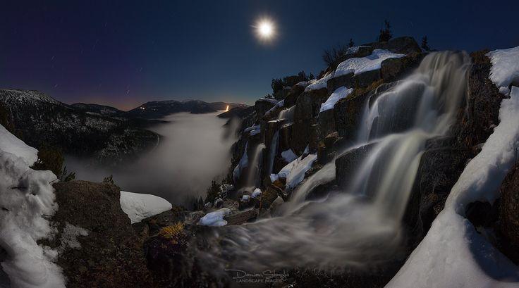 Krkonoše - noční vodopád Pančavy (foto: Damian Stoszko)