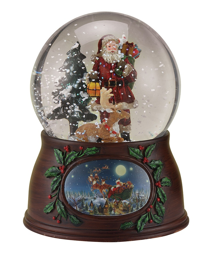 Roman musical santa deer snow globe navidad