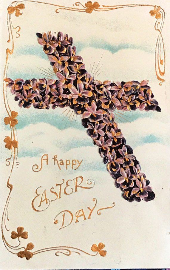Antique Embossed Easter Postcard, Purple Flowered Easter Cross, A Happy  Easter Day