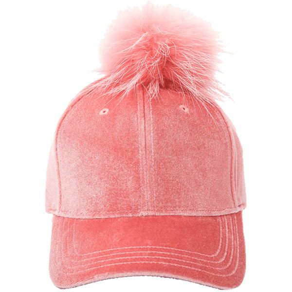 Pink Pompon Ball Embellished Velvet Baseball Hat ($30) ❤ liked on Polyvore featuring accessories, hats, pink ball cap, pink baseball cap, ball hats, embellished hats and ball cap hats